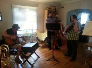 Edward Burch, Riley Broach, and The Viper rehearse in Champaign, Illinois, June 2013.