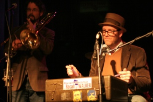 Rob Henn and Edward Burch with The Viper & His Famous Orchestra, Kneel to Neil (Young) benefit for The Bridge School and WMSE, Linneman's Riverwest Inn, Milwaukee, Wisconsin. Photograph by Sue Peacock.
